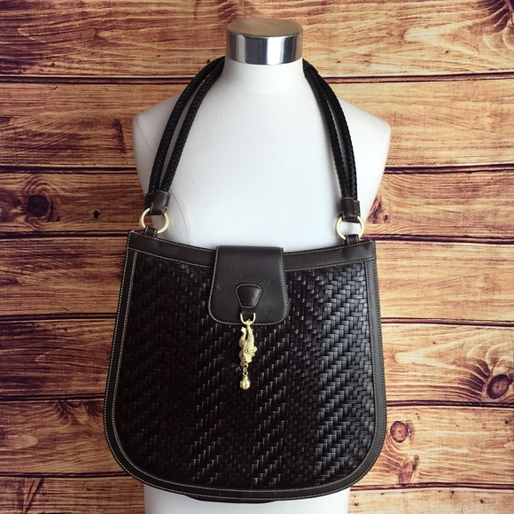 kieselstein-Cord Handbags - KIeselstein-Cord Brown Woven Leather w/ Frog Bag